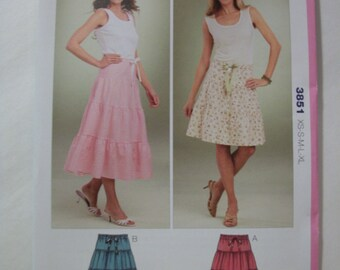 Kwik Sew 3851 Misses Size xs, s, m, l, xl tiered skirts