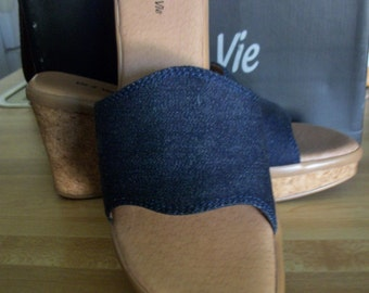 Vus A Vue POLLY platform mule denim one band size 8