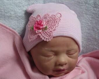 Newborn Hospital Hat. Newborn Girl Hat. Newborn Butterfly Hat. Newborn Hosptial Beanie