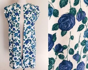 Vintage terrycloth mini dress // vintage toweling dress // vintage blue rose // vintage cover up