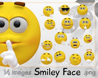 14 images Smiley Face digital printable clipart emoji png file for scrapbooking, craft, stickers beautiful and easy to use