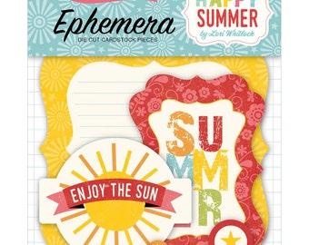 SHIPS FREE USA! Echo Park Happy Summer Ephemera Die Cut Pack - 33 Pieces