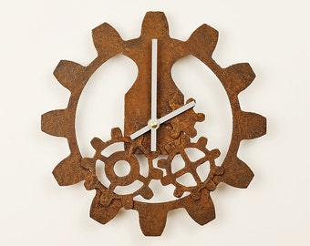 Steampunk Industrial Rusted Gears Wall Clock