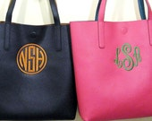 Monogrammed Faux Leather Tote Bag / Handbag-Personalized Gift