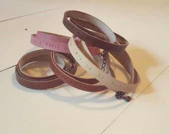 Hand Stamped Leather Wrap Bracelet