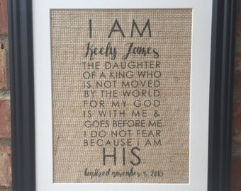 I am the Daughter fo the King Burlap Print for Newborn baby, Baby Dedication or Baby Christening, Baptism - great gift / present