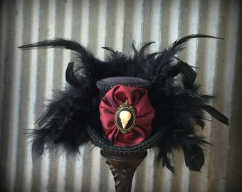 Micro Mini Top hat, Steampunk Hat, Raven Skull Hat, Alice in Wonderland, Mad hatter Hat, Tea party mini top hat, Gothic Skull Hat