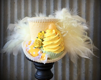 Mini Top hat, Cupcake hat (small), Alice in Wonderland, Mad Hatter Hat, Mad Tea Party,Kentucky Derby Hat, Yellow Cupcake Hat, Mad Hatter Hat