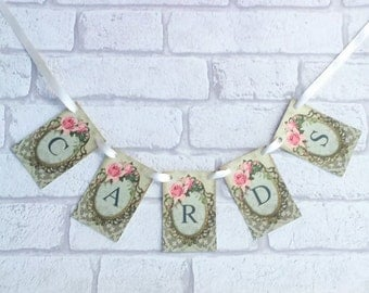 Wedding Cards Sign Garland Vintage Style Postbox Bunting Shabby Chic Flower Rose