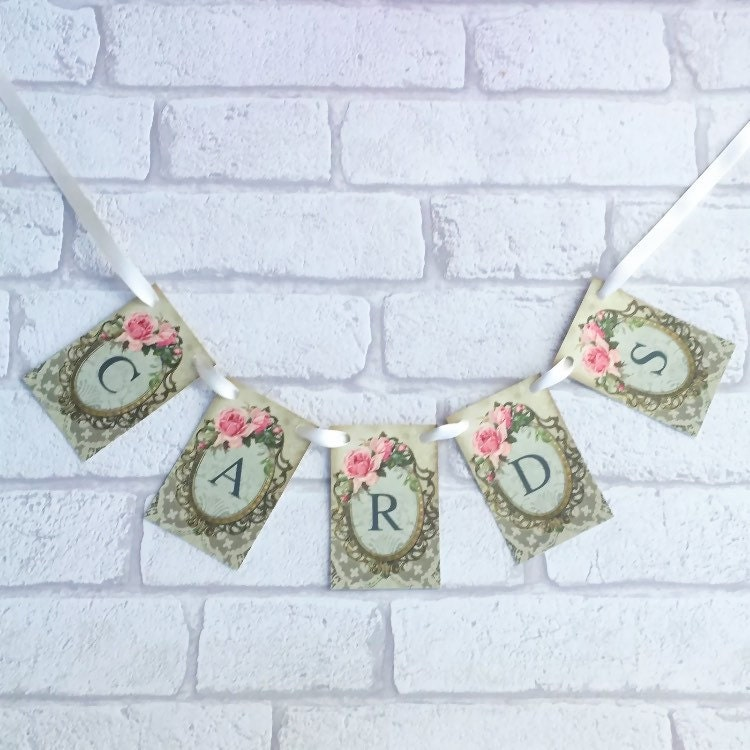 Wedding Cards Sign Garland Vintage Style Postbox Bunting