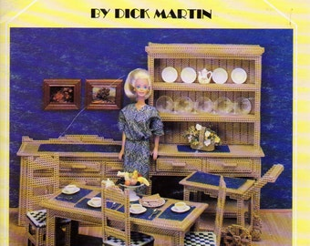 The Dining Room in Plastic Canvas, Barbie Doll Size Dining Room Furniture Plastic  Canvas Patterns, Leisure Arts 1409