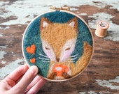 """Tea Time Fox - Needle Felted Embroidery Hoop Art - Textile Wall Decor in 5"""" hoop - Gift for Home"""