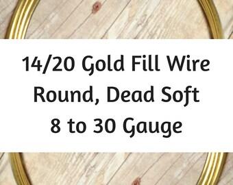 14/20 Gold Filled Wire, Round, Dead Soft, 8 Gauge, 10 Gauge, 12 Gauge, 14 Gauge, 16 Gauge, 18 Gauge, 20 21 22 24 26 28 30 Gauge