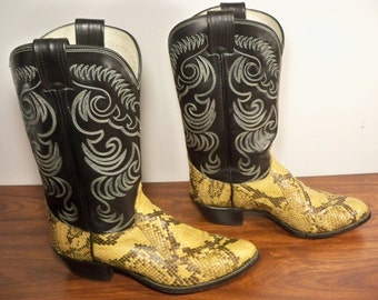 Vintage Olathe Exotic Snake Skin Leather Riding Biker Cowboy Western Men's Boots Made in USA Size 9.5
