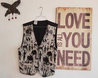Vintage Clothing Women's Vintage bohemian embroidery cream and black vest