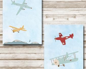 Airplanes Printable Set Nursery Print 8x10 11x14 Aviation Nursery Playroom Decor Blue Skies Boy's Room Wall Art Photography Prop