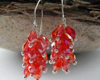 Red Teardrop Cascade Cluster Earrings in Silver