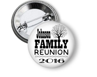 Reunion Buttons with Date, Reunion Favors, Family Tree Favors, Family Reunion, Family Tree Pins, Summer Party Favors, Family Tree Button