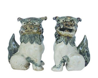 ON SALE Hand Painted Foo Dogs | Chinese Statue | Hollywood Regency | Chinese Oriental Ceramic Foo Dogs | Fu Dogs