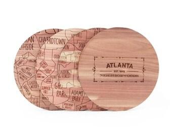 Atlanta Map Coaster Set