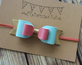 Glitter and faux leather bow - Clip or headband - Mint, coral gold faux leather