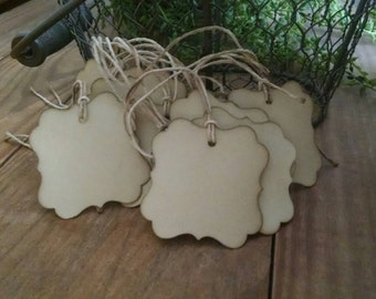 "Square Flourish gift tags, coffee stained hang tags, sized 2"" x 2"", set of 25"
