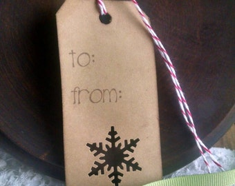 Let It Snow! Christmas Gift Tags, set if 12 hand punched gift tags