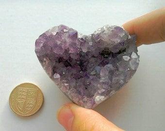 Amethyst Druzy Cluster Crystal Gemstone Heart