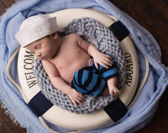 Sailor Hat Newborn Props  Baby Boy Hat Nautical Props Infant Boy Hats Photography Props Fabric Sailor Hat White Sailor Hat Childrens Hat