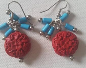 Handmade Ralph Lauren Inspired Earrings,  Red and Teal Earrings, Handmade Teal And Round Red Colored Plastic Earrings