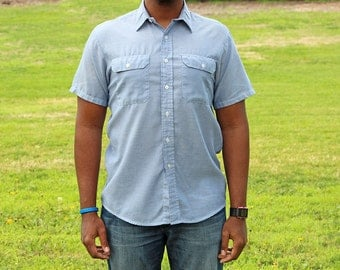Vintage Chambray Short Sleeve Button Up