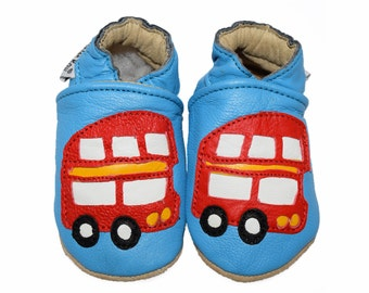London Bus Red Handmade soft sole genuine Goat leather baby & kids shoes