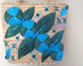 Vintage Straw and Raffia Tote Market Bag Blue Green Flowers