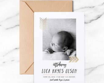 Tribal gold foil Birth Announcement, arrow birth announcement, gold modern birth announcement