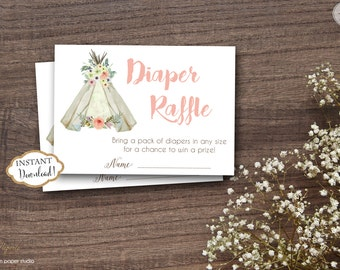 INSTANT DOWNLOAD - Teepee Tribal Diaper Raffle Tickets - Floral Arrow Feather Tribal Diaper Raffle - Boho Diaper Raffle - Boho Theme - 0331