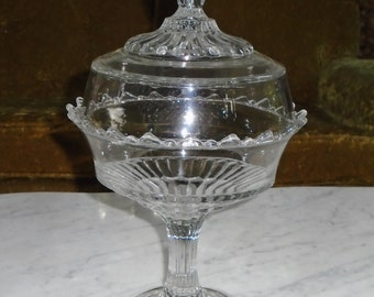 LARGE 13 inch antique Clear Glass Covered Pedestal Compote Candy Dish w Scalloped Edge