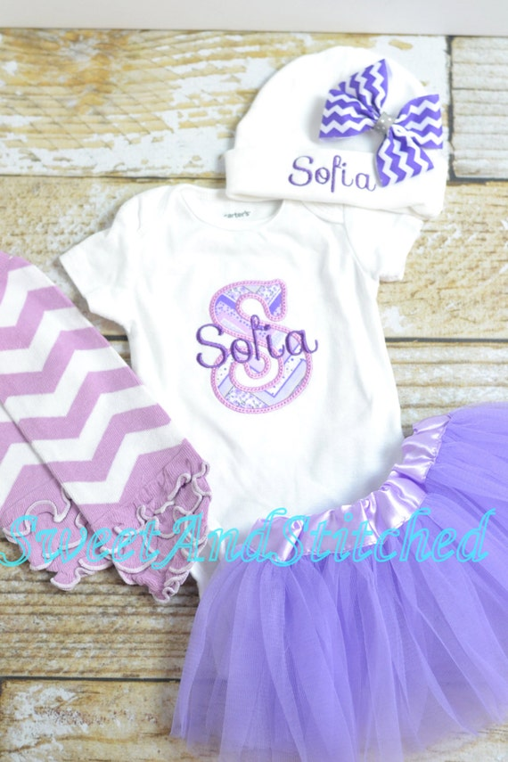 Monogrammed newborn outfit in purple, baby girl take home hospital outfit personalized purple, monogrammed newborn gown, newborn hat