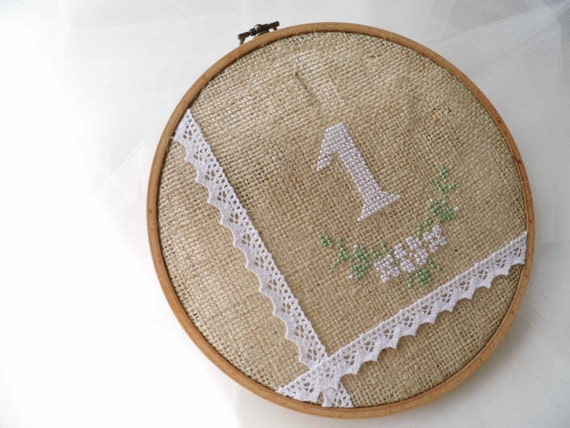 Wedding Table Number Hoop Embroidery Hand Embroidered