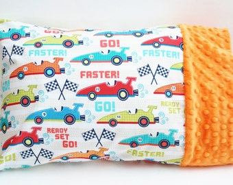Toddler Boy Racecar Travel Pillow Case - Cotton and Orange Minky - For 12 by 16 Or 13 by 18 Inch Pillow - Boy Gift - Racecar Birthday