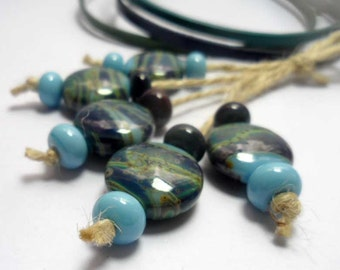 Lampwork Glass beads handmade Beads blue  green.