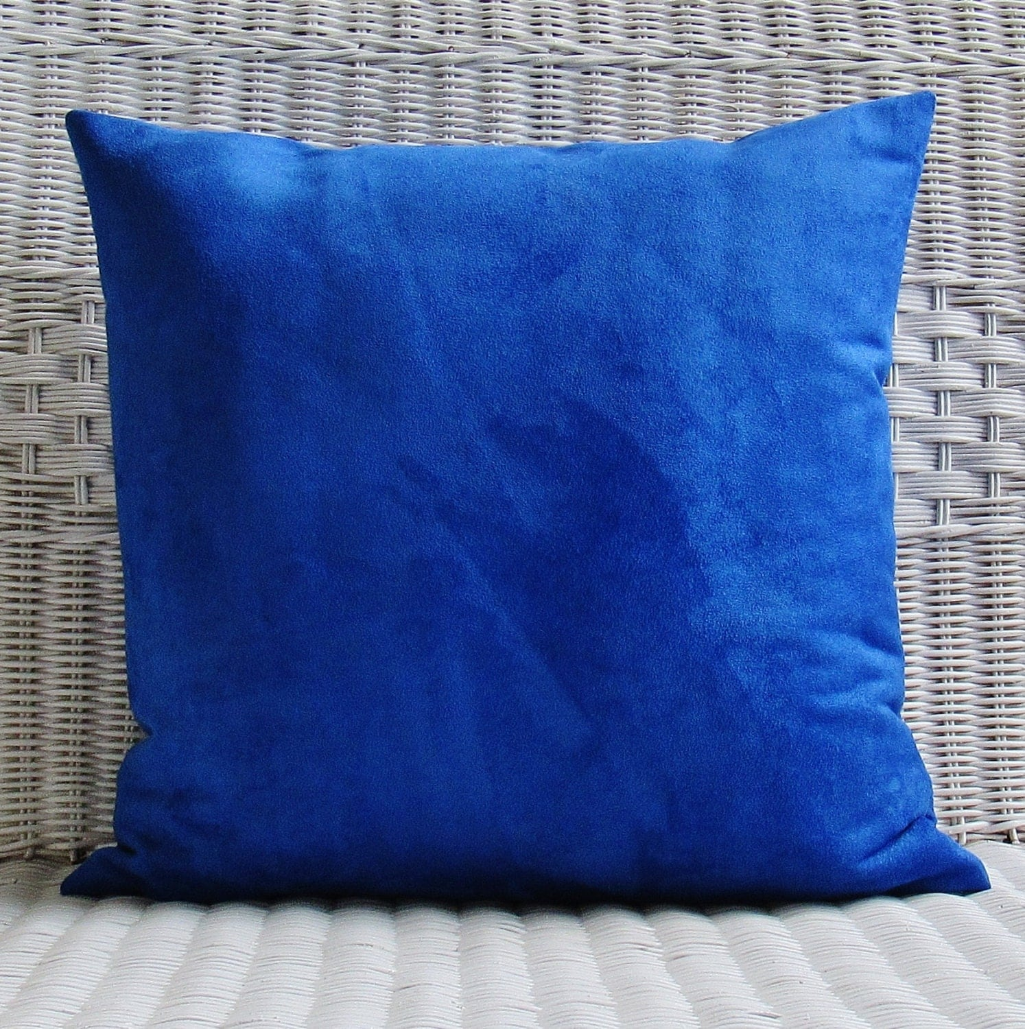 Throw Pillows Royal Blue : Cobalt Royal Blue Suede Pillow Cover Decorative Throw Accent