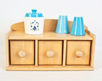 Vintage Dansk Blonde Wood Canister Box, Storage Box with Drawers, Dry Good Storage Container