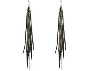 Tassle Earring Gunmetal,Gunmetal Silver Earring ,Gunmetal Earring, Tassle Earring,Presh Earring