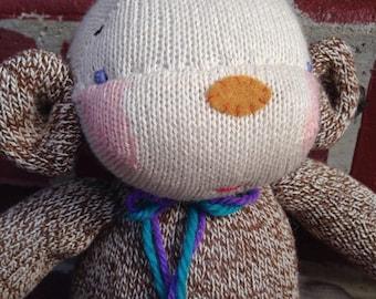 SOLD!!!  Cheeky Britches Sock Monkey Plush, monkey plush, stuffed animals, handmade toys, monkey toy, nursery decor, handmade doll,