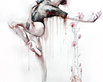 Original Watercolor Painting. Wall art, ballet dancer girl. Ballet dancer. Gifts For Her .