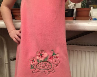 Girl Dress Sleeveless Dress Embroidery Fleece Pink