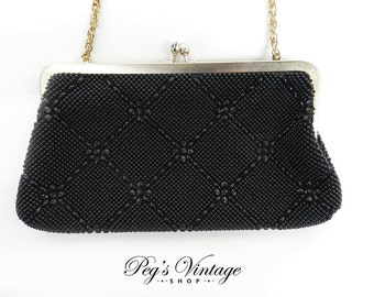 Vintage Goldco Black Beaded Handbag / Clutch Evening Bag, Fashion Accessory