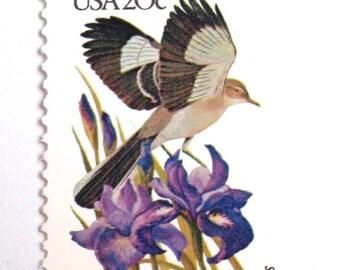 10 Unused Tennessee Mockingbird Postage Stamps// Mockingbird and Purple Iris // Tennessee State Bird and State Flower