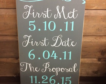 Our Love Story Wedding Date - Pine Wood Sign | Country | Primitive | Rustic | Wedding Sign