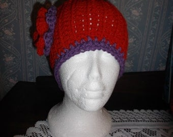 Red Hat Society Inspired Hand Crocheted Red/Purple Headband Ear Warmers